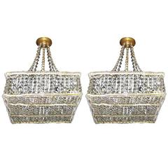 Pair of Square Pendant Crystal Light Fixtures