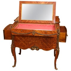 Mechanical Table, French Louis XV Style with Marquetry and Bronze Mounts