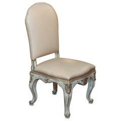 Set of 10 Italian Painted Dining Side Chairs in Cream Leather Upholstery
