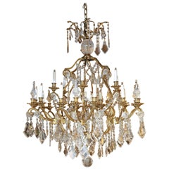 French Bronze and Crystal Chandelier with 24-Lights