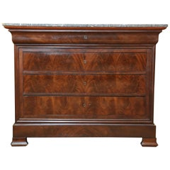 Louis-Philippe Mahogany and Marble-Top Commode or Chest