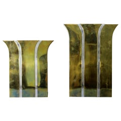 Contemporary Modernist Mixed Metal Brass Decorative Vases Made in Italy, 1980s