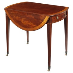 George III Mahogany and Satinwood and Rosewood Banded Pembroke Table