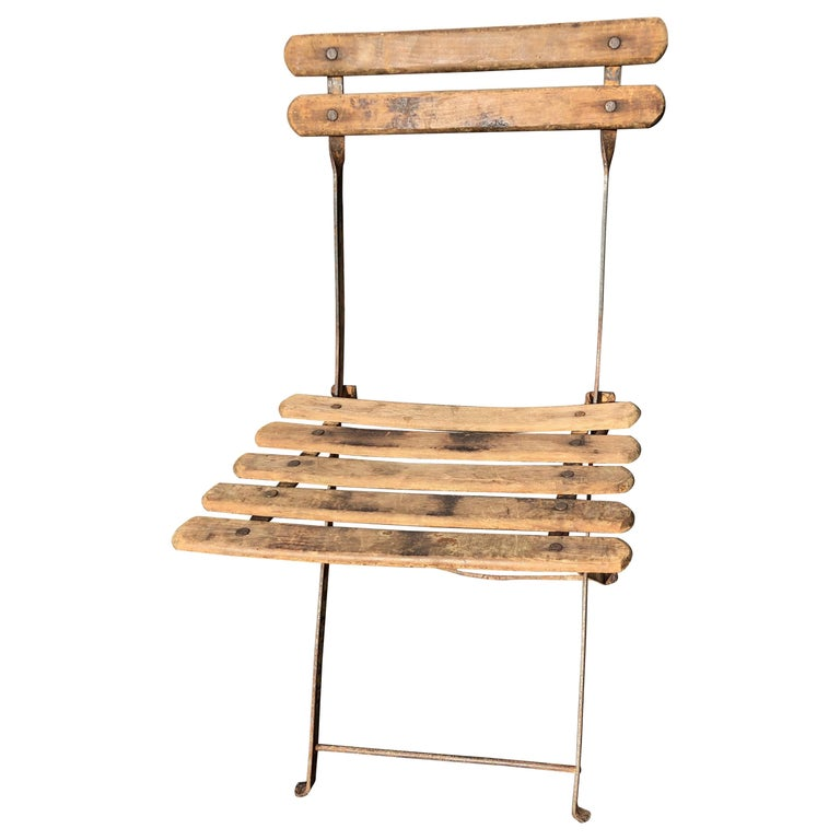 55 Folding French Bistro Chairs in Oak and Wrought Iron For Sale