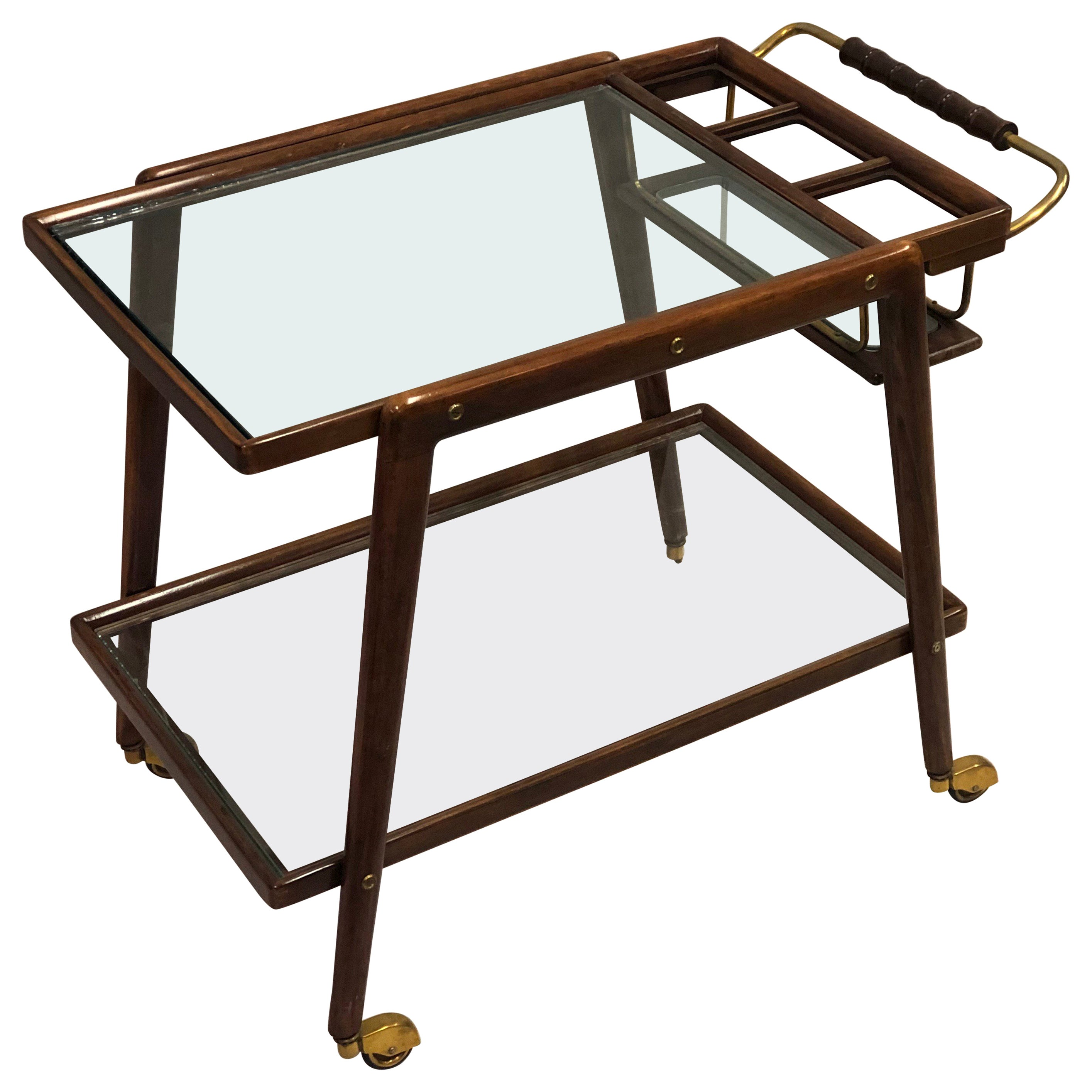 Italian Mid-Century Modern Walnut and Glass Bar Cart by Cesare Lacca