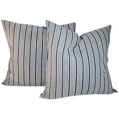 19th Century Ticking Striped Pillows or Pair