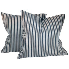 19th Century Blue and White Ticking Stripe Pillows, Pair