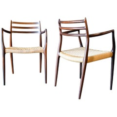 Pair of Niels Møller Model 62 Rosewood Armchairs, circa 1960