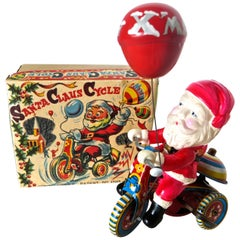 """Santa Claus Cycle"" Wind Up Toy with Original Box, Japan, circa 1955"