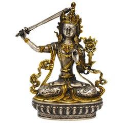 Gilded Silver Tibetan Buddha Manjushree with Sword of Wisdom