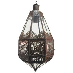 Moroccan Light Fixture in Clear Glass and Metal Filigree Moorish Designs