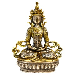 Gilded Silver Tibetan Buddha of Long Life Amitayus