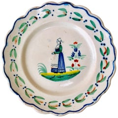 French Faience Quimper Plate, circa 1900