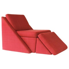 Milo Baughman Postmodern Chair and Ottoman