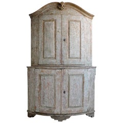 Antique Mid-18th Century Swedish Rococo Corner Cabinet with Original Paint