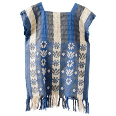 Native Mexican Chiapas Weaved Blouse for Wall Hanging Decoration Huipil Blue