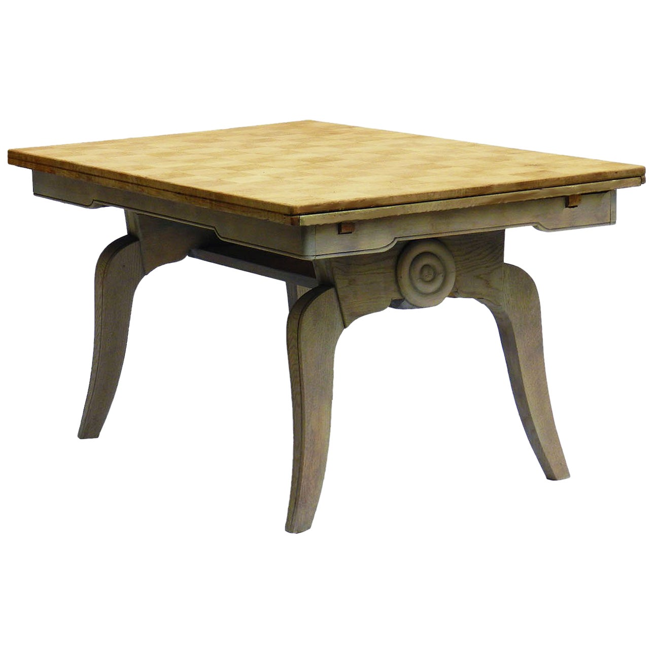 Midcentury Dining Table French Extending Drawer Leaf Bleached Oak