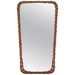 Midcentury Vintage Rectangular French Rattan Wall Mirror, 1950s