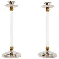 Estrid Ericson, Pair of Brass and Plexiglas Candlesticks, 1960