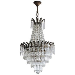 French Crystal Waterfall Three-Light Chandelier, circa 1920
