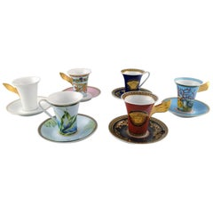 Gianni Versace for Rosenthal, Set of 6 Coffee Cups with Saucers