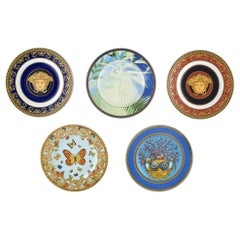 Gianni Versace for Rosenthal, 5 Plates, Medusa and Floral Motifs