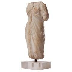 Roman 2nd Century Elegant Draped Venus Torso, Marble