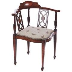 Quality Antique Edwardian Inlaid Corner Chair