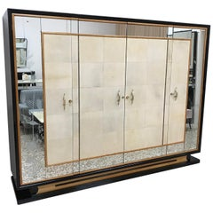 Italian Art Deco Wardrobe, Parchment and Maple in the style of Borsani, 1940s