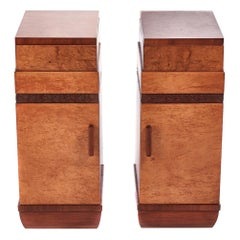 Quality Pair of Art Deco Bird's-Eye Maple Bedside Cabinets
