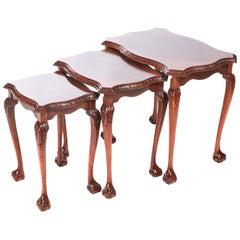 Quality Burr Walnut Nest of 3 Tables