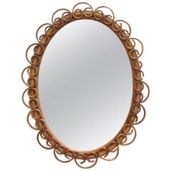 Italian Oval Shaped Rattan and Bamboo Wall Mirror, circa 1960s