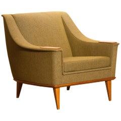 Green Upholstered Oak Lounge / Easy Chair by Folke Ohlsson for DUX 1960 Sweden