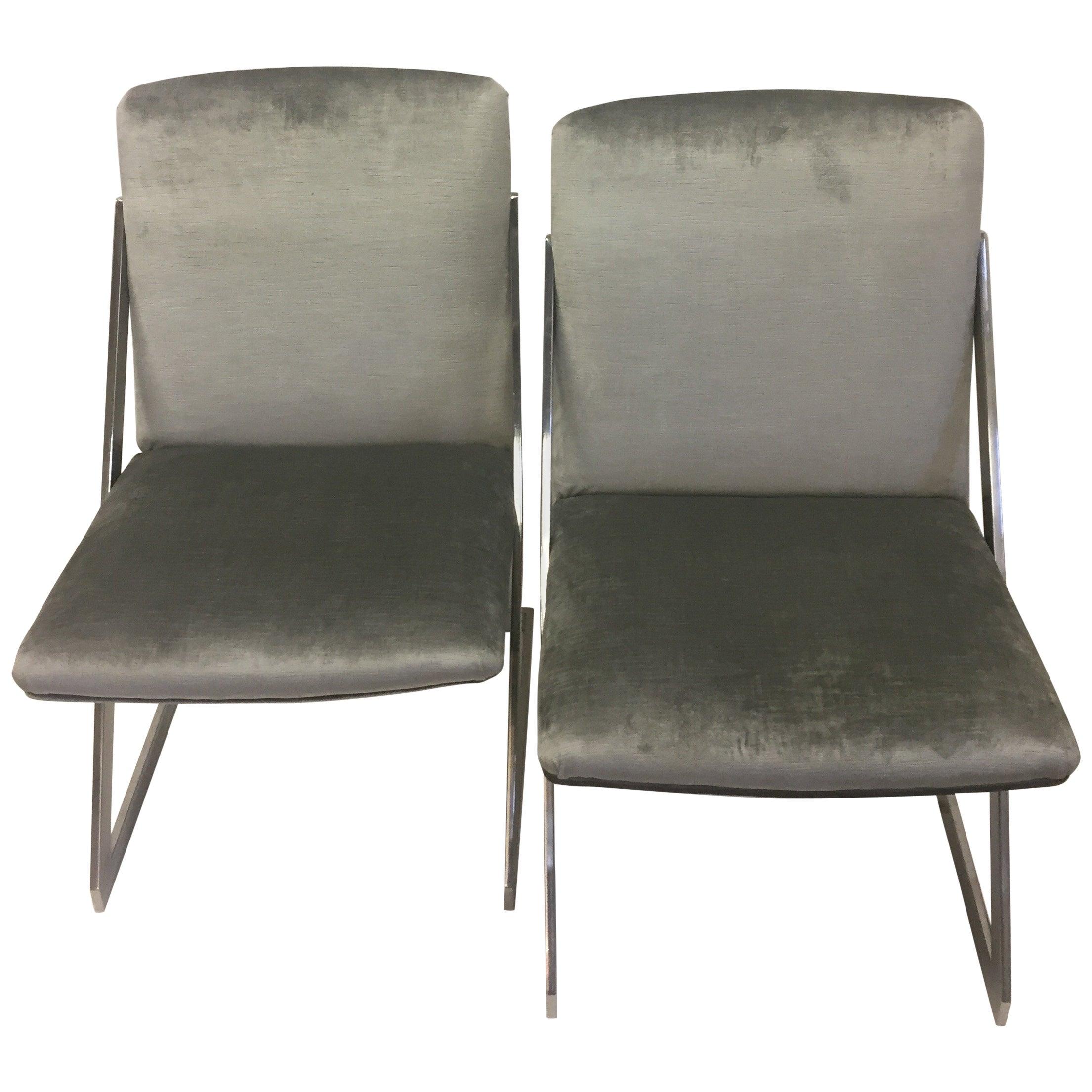 Sleek Pair of Mid-Century Modern Chrome and Gray Silk Velvet Club Chairs