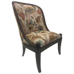 Beautiful Walnut and Tapestry Curved Club Chair by Baker