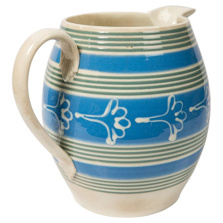 Antique Mochaware Pitcher Decorated with Bands of Powder Blue and Green Slip For Sale