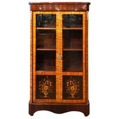 19th Century Napoleon III Rosewood Inlay Cabinet Vetrines
