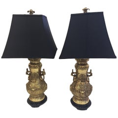 Pair of Impressive James Mont Monumental Large Brass Lamps