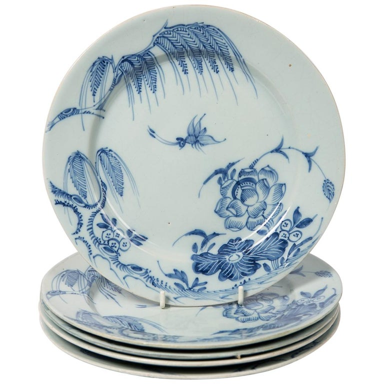 Antique Blue and White Delft Plates a Set of Five 18th Century circa 1750 For Sale