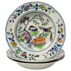 Set of Twelve Antique Dishes Flying Bird Pattern