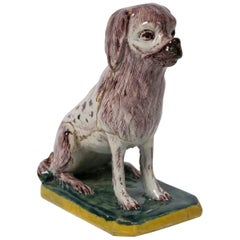 Antique Faience Dog a Spaniel Made in Brussels in the 18th Century