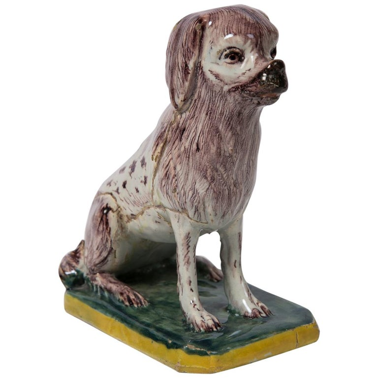 Antique Faience Spaniel Dog, 18th Century For Sale