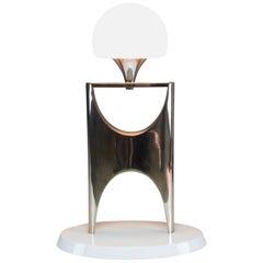 Vintage Aluminium Boulle Table Lamp, 1950-1960