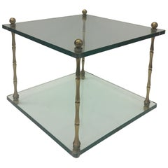 Stylish Mid-Century Modern Two-Tier Glass and Brass End Table by Baker