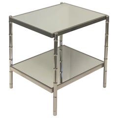 Handsome Chrome and Mirror Faux Bamboo End Table