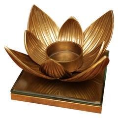 Water Flower Candleholder in Vintage Brass