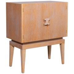 Cerused Art Moderne Bar Cabinet