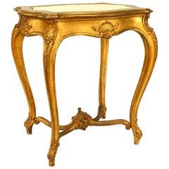 French Louis XV Style Gilt End Table