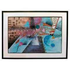 "Contemporary Art Marlene Healey Framed Mixed-Media ""Double Flint"""
