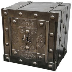 19th Century Italian Hobnail Wrought Iron Antique Safe, Strongbox